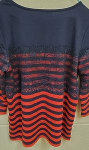 Karl Lagerfeld knit top striped lace overlay Sz M